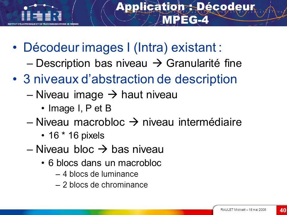 RAULET Mickaël – 18 mai 2006 INSTITUT DÉLECTRONIQUE ET DE TÉLÉCOMMUNICATIONS DE RENNES 40 Application : Décodeur MPEG-4 Décodeur images I (Intra) exis