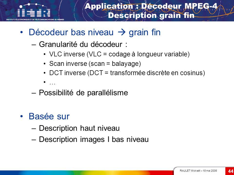 RAULET Mickaël – 18 mai 2006 INSTITUT DÉLECTRONIQUE ET DE TÉLÉCOMMUNICATIONS DE RENNES 44 Application : Décodeur MPEG-4 Description grain fin Décodeur