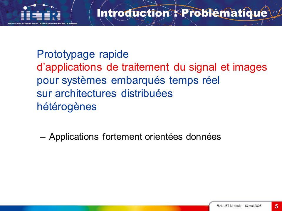 RAULET Mickaël – 18 mai 2006 INSTITUT DÉLECTRONIQUE ET DE TÉLÉCOMMUNICATIONS DE RENNES 5 Introduction : Problématique Prototypage rapide dapplications
