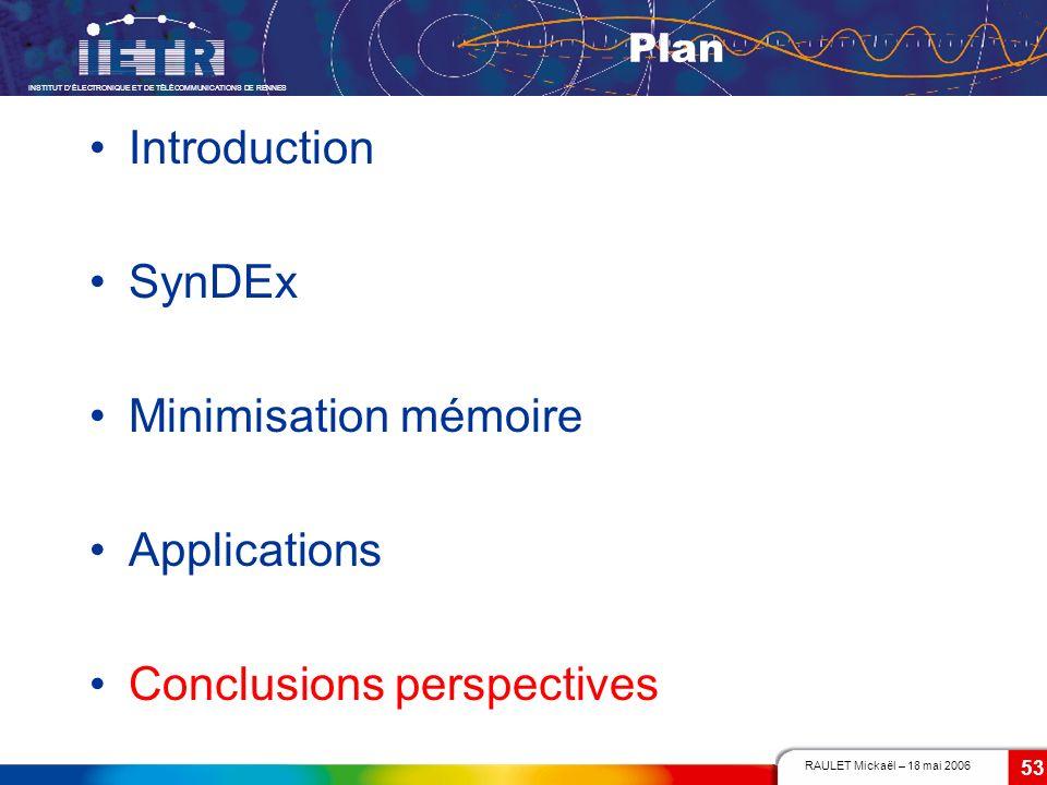 RAULET Mickaël – 18 mai 2006 INSTITUT DÉLECTRONIQUE ET DE TÉLÉCOMMUNICATIONS DE RENNES 53 Plan Introduction SynDEx Minimisation mémoire Applications C