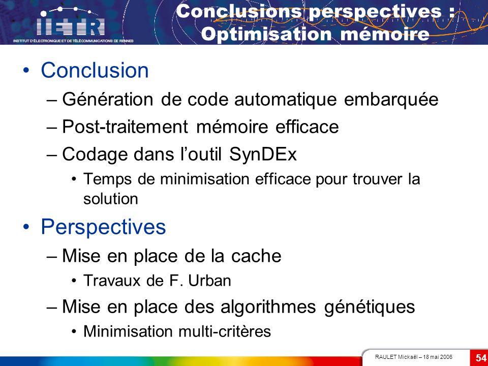 RAULET Mickaël – 18 mai 2006 INSTITUT DÉLECTRONIQUE ET DE TÉLÉCOMMUNICATIONS DE RENNES 54 Conclusions perspectives : Optimisation mémoire Conclusion –