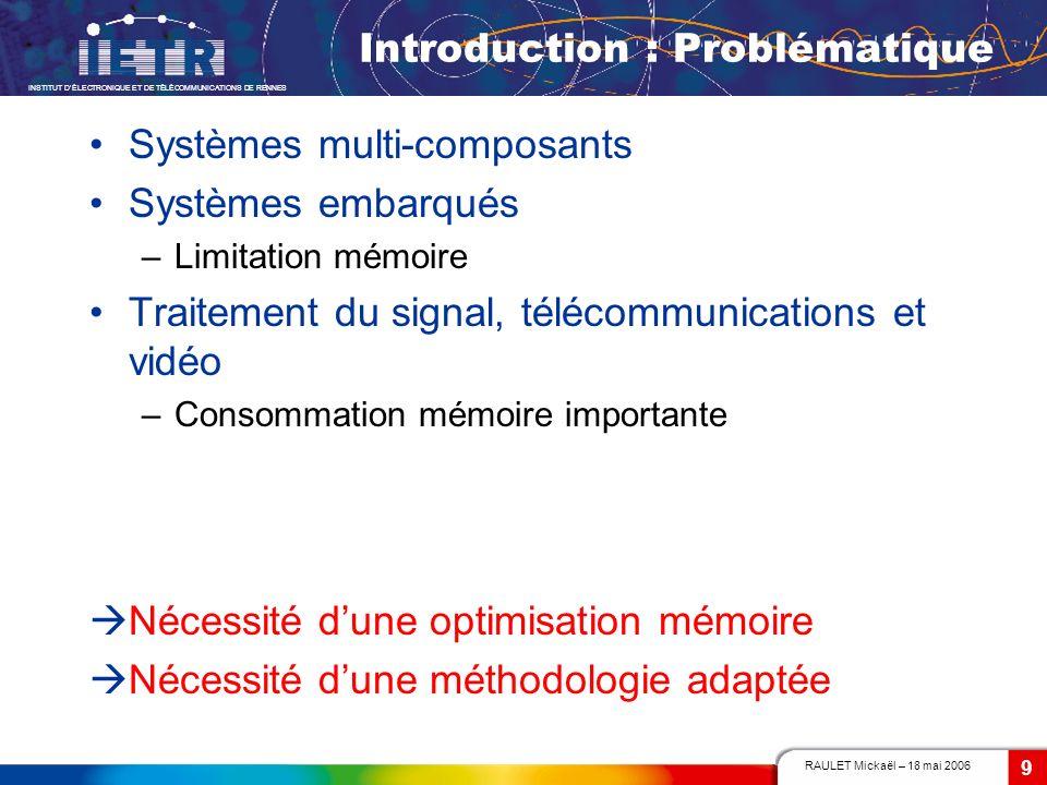 RAULET Mickaël – 18 mai 2006 INSTITUT DÉLECTRONIQUE ET DE TÉLÉCOMMUNICATIONS DE RENNES 9 Introduction : Problématique Systèmes multi-composants Systèm