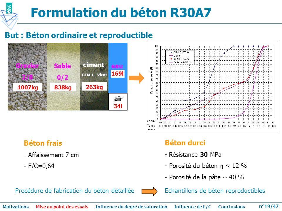 n°19/47 Formulation du béton R30A7 Sable 0/2 838kg 263kg 169l ciment 1007kg air Gravier 2/8 eau 34l Béton frais - Affaissement 7 cm - E/C=0,64 Béton d
