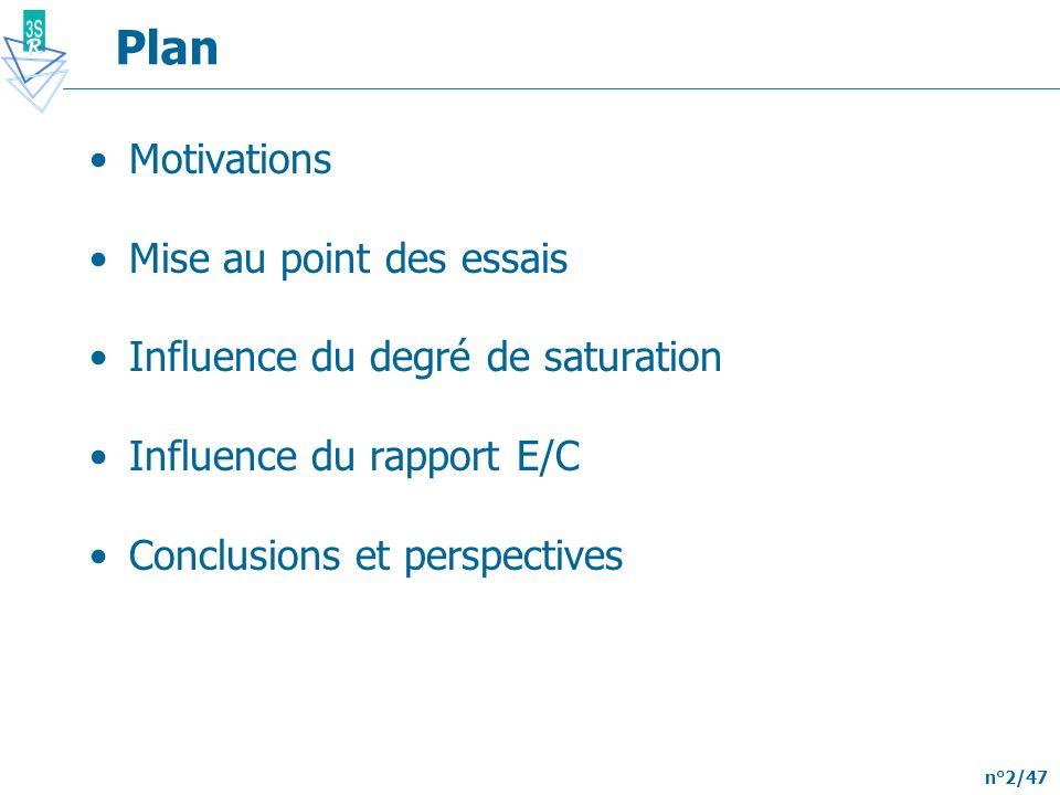 n°2/47 Plan Motivations Mise au point des essais Influence du degré de saturation Influence du rapport E/C Conclusions et perspectives