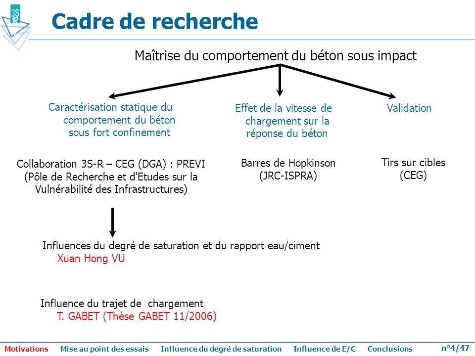n°4/47 Cadre de recherche Maîtrise du comportement du béton sous impact Collaboration 3S-R – CEG (DGA) : PREVI (Pôle de Recherche et d'Etudes sur la V