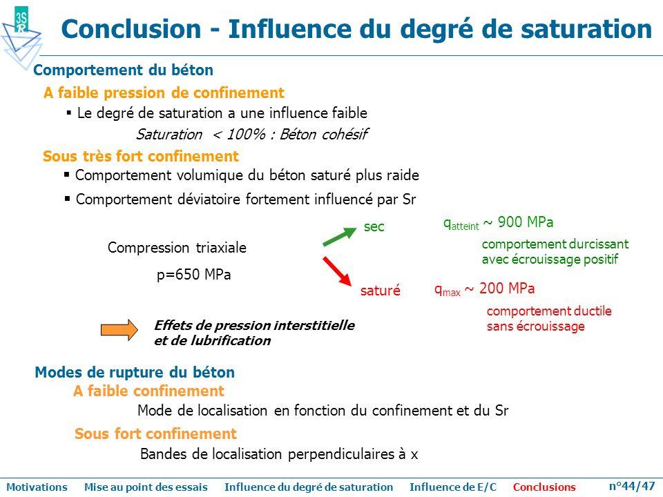 n°44/47 Conclusion - Influence du degré de saturation Le degré de saturation a une influence faible Saturation < 100% : Béton cohésif A faible pressio