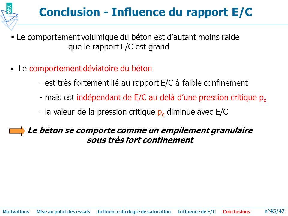 n°45/47 Le comportement volumique du béton est dautant moins raide que le rapport E/C est grand Le comportement déviatoire du béton - est très forteme