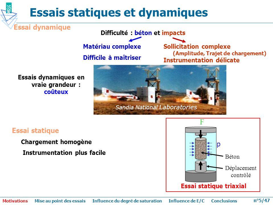 n°5/47 Essais statiques et dynamiques Difficulté : béton et impacts Matériau complexe Difficile à maîtriser Essais dynamiques en vraie grandeur : coût