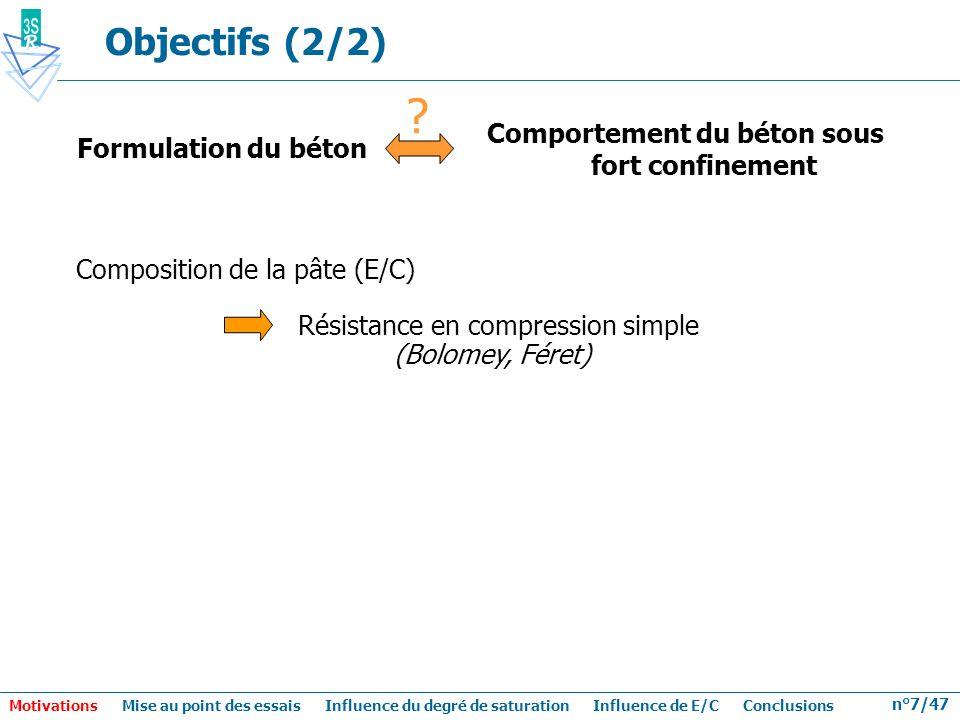 n°7/47 Comportement du béton sous fort confinement Formulation du béton ? Composition de la pâte (E/C) Résistance en compression simple (Bolomey, Fére
