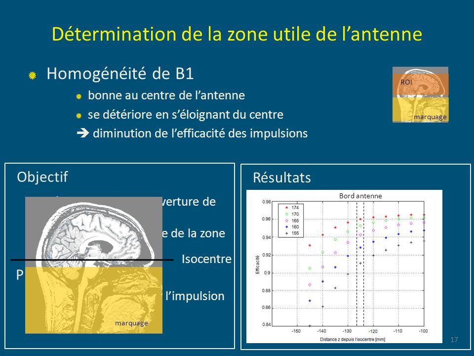 Détermination de la zone utile de lantenne Homogénéité de B1 bonne au centre de lantenne se détériore en séloignant du centre diminution de lefficacit