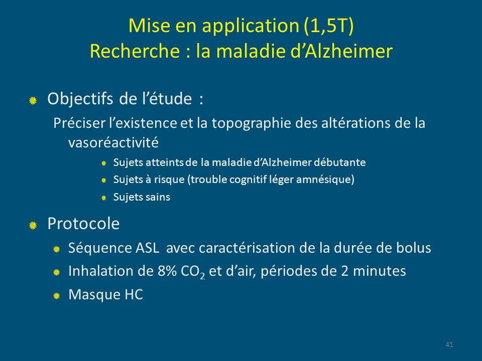 Mise en application (1,5T) Recherche : la maladie dAlzheimer Objectifs de létude : Préciser lexistence et la topographie des altérations de la vasoréa