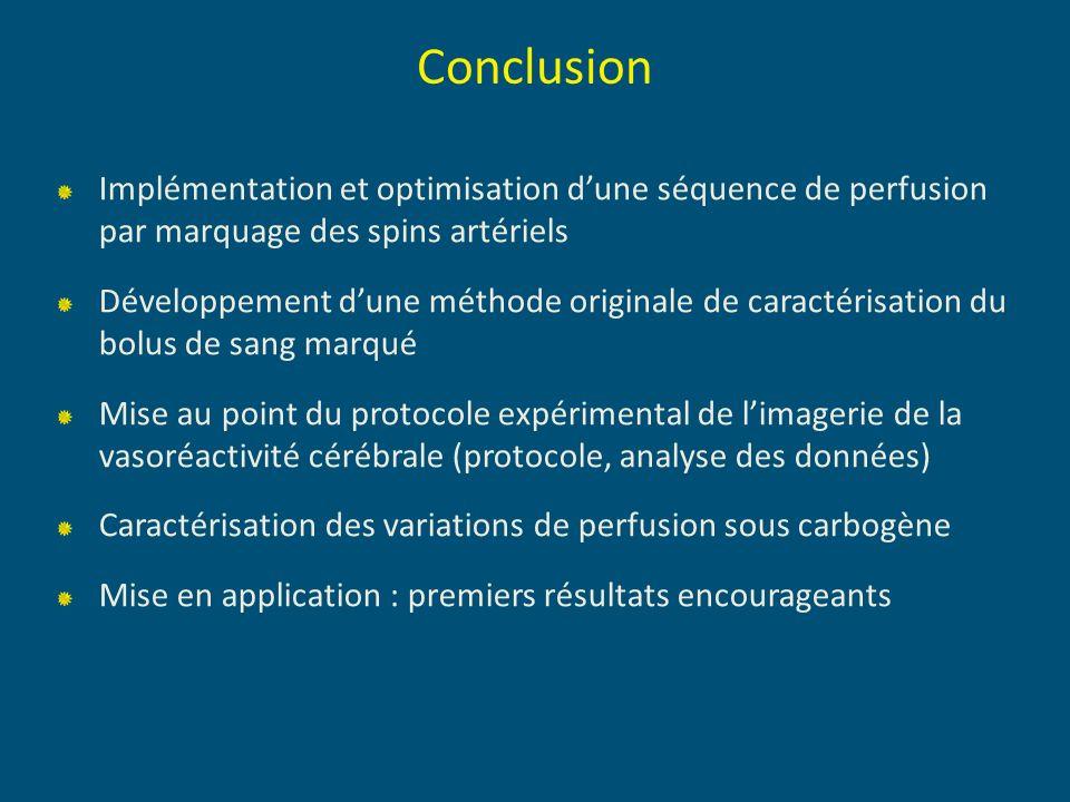 Conclusion Implémentation et optimisation dune séquence de perfusion par marquage des spins artériels Développement dune méthode originale de caractér