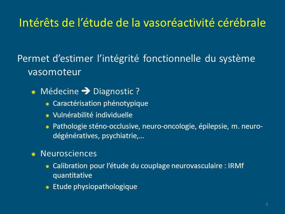 Intérêts de létude de la vasoréactivité cérébrale Permet destimer lintégrité fonctionnelle du système vasomoteur Médecine Diagnostic ? Caractérisation