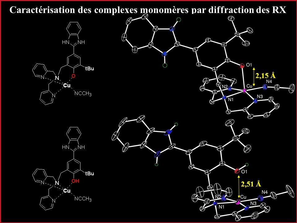 20 Caractérisation des complexes monomères par diffraction des RX 2,15 Å 2,51 Å