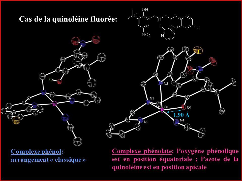21 Cas de la quinoléine fluorée: Complexe phénol: arrangement « classique » Complexe phénolate: loxygène phénolique est en position équatoriale ; lazo