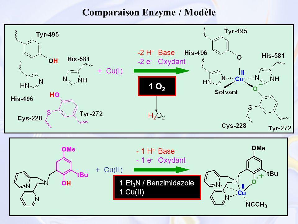37 Comparaison Enzyme / Modèle -2 H + -2 e - + Cu(I) + Cu(II) 1 O 2 1 Et 3 N / Benzimidazole 1 Cu(II) - 1 H + - 1 e - Base Oxydant Base Oxydant H2O2H2