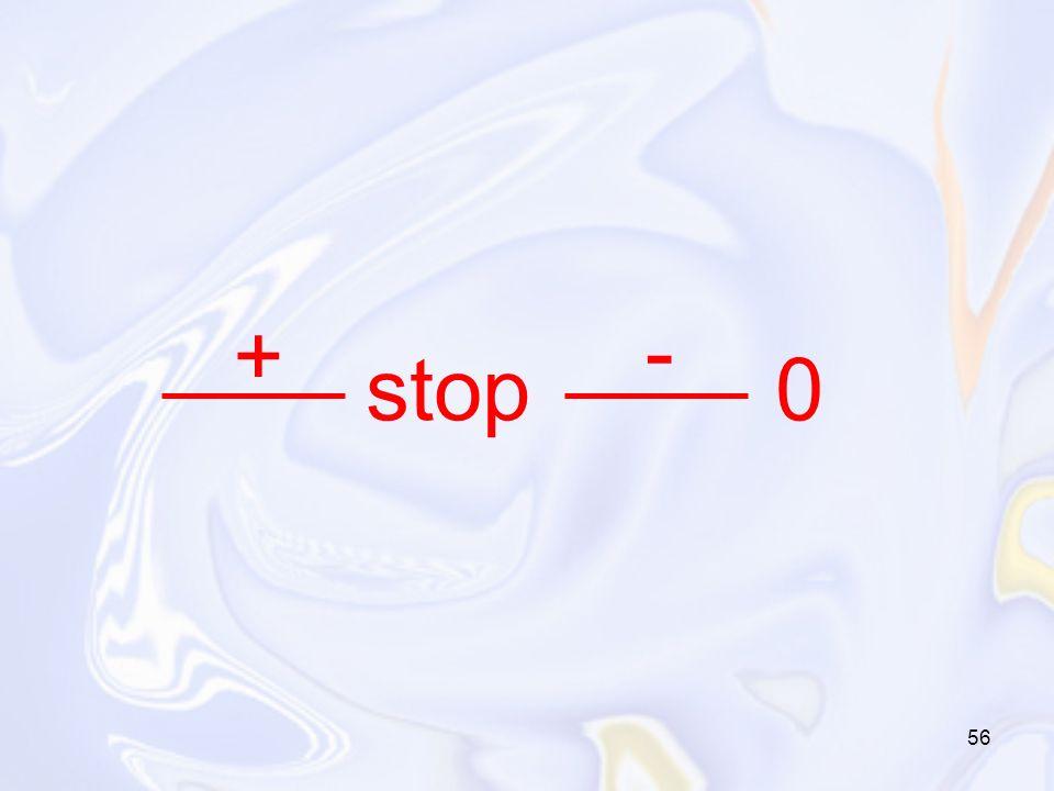56 stop 0 + -