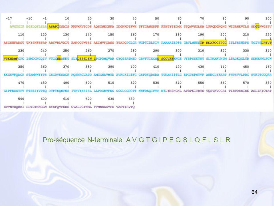 64 Pro-séquence N-terminale: A V G T G I P E G S L Q F L S L R