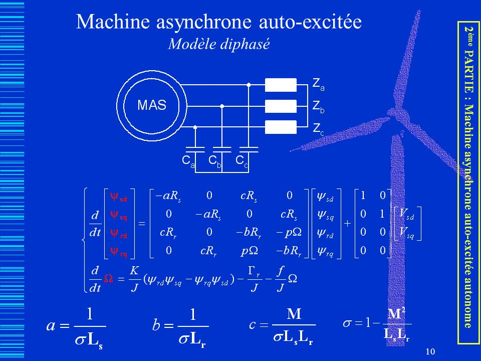 10 Machine asynchrone auto-excitée Modèle diphasé 2 ème PARTIE : Machine asynchrone auto-excitée autonome