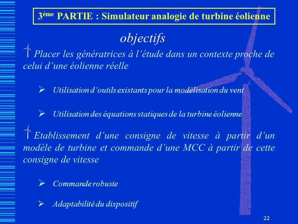 22 3 ème PARTIE : Simulateur analogie de turbine éolienne objectifs Placer les génératrices à létude dans un contexte proche de celui dune éolienne ré