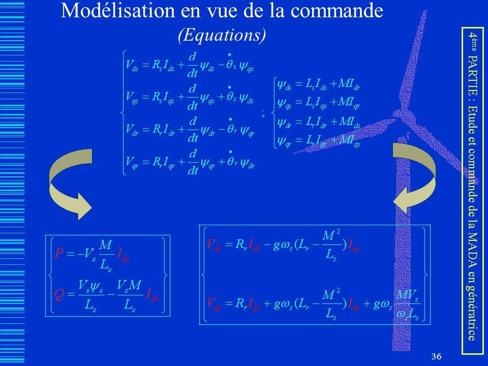 36 Modélisation en vue de la commande (Equations) 4 ème PARTIE : Etude et commande de la MADA en génératrice