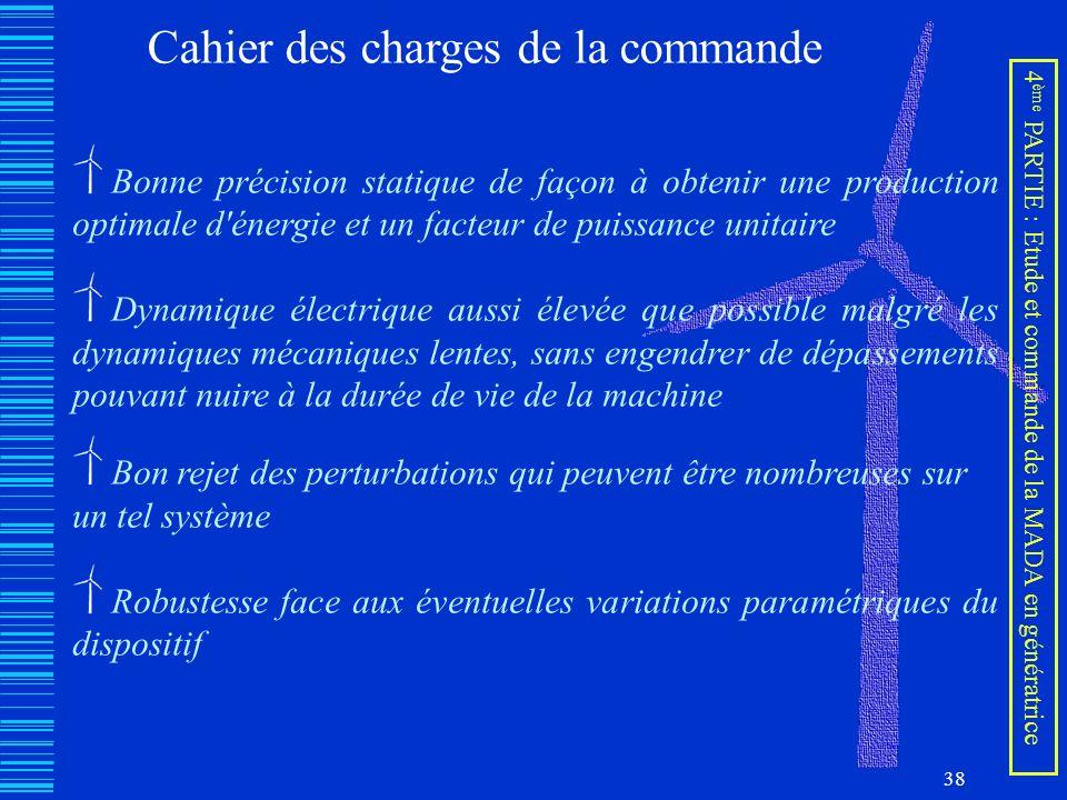 38 Cahier des charges de la commande Bonne précision statique de façon à obtenir une production optimale d'énergie et un facteur de puissance unitaire