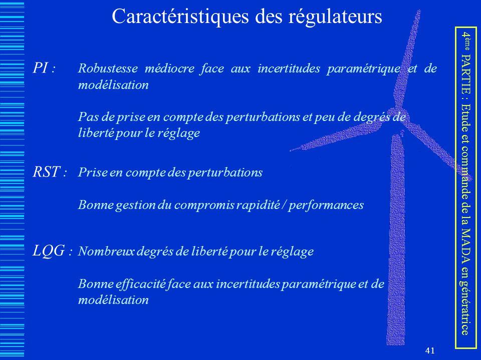 41 4 ème PARTIE : Etude et commande de la MADA en génératrice Caractéristiques des régulateurs PI : Robustesse médiocre face aux incertitudes paramétr