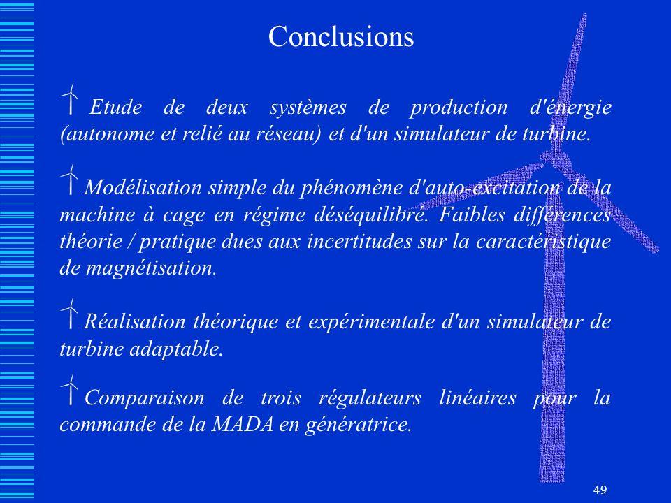 49 Conclusions Etude de deux systèmes de production d'énergie (autonome et relié au réseau) et d'un simulateur de turbine. Modélisation simple du phén
