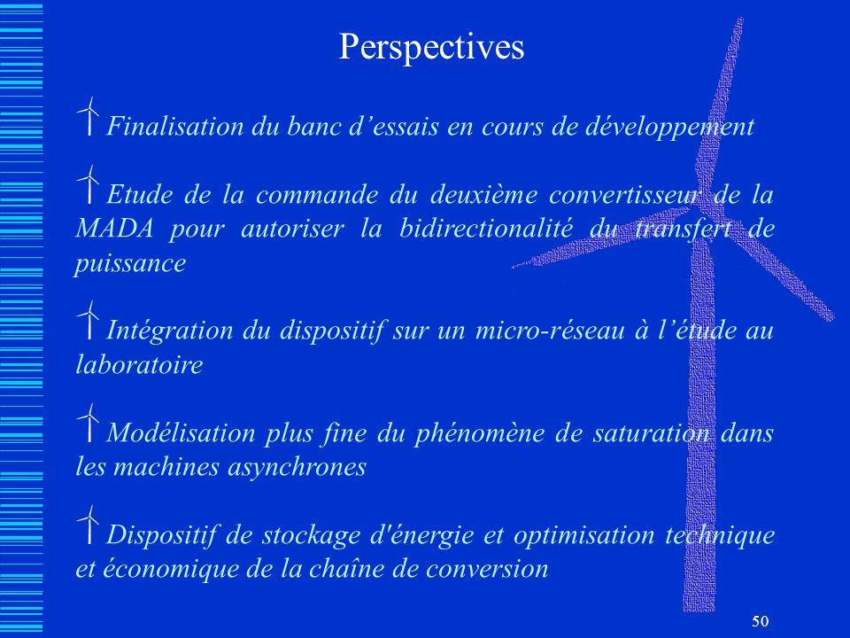 50 Perspectives Finalisation du banc dessais en cours de développement Etude de la commande du deuxième convertisseur de la MADA pour autoriser la bid