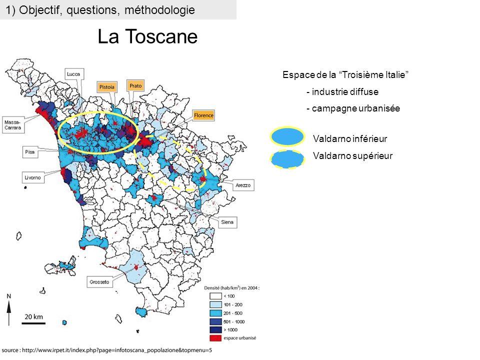 1) Objectif, questions, méthodologie La Toscane Espace de la Troisième Italie - industrie diffuse - campagne urbanisée Valdarno inférieur Valdarno sup