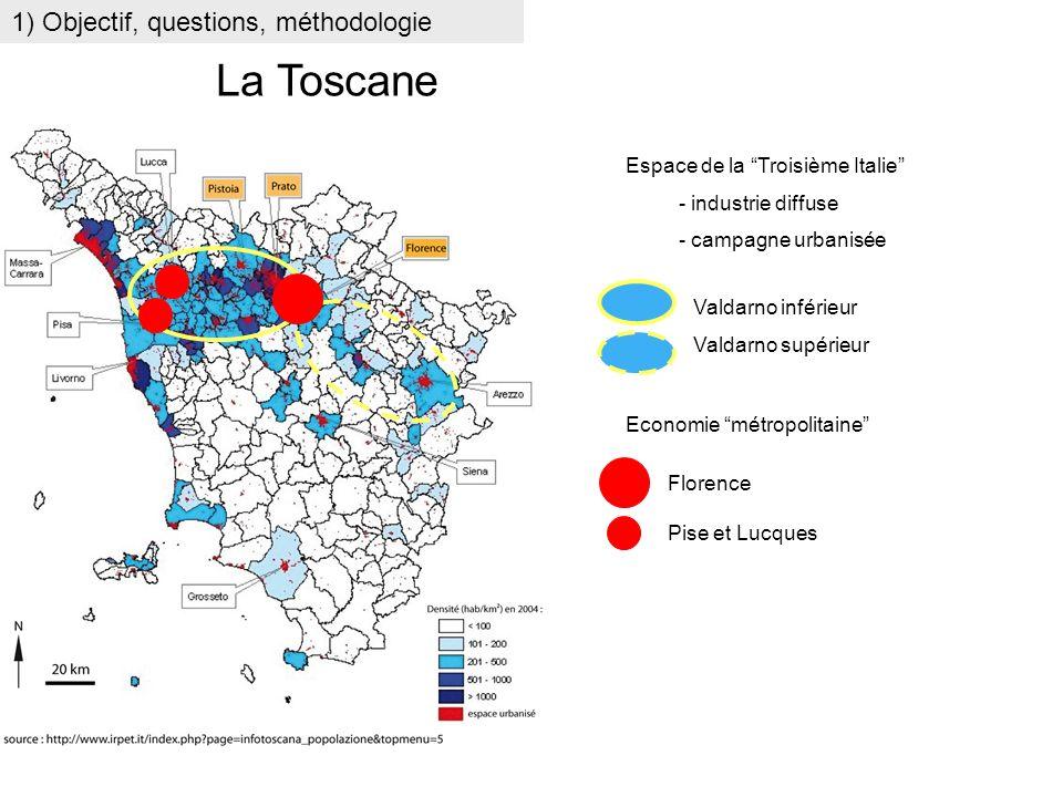Florence Pise et Lucques 1) Objectif, questions, méthodologie La Toscane Economie métropolitaine Espace de la Troisième Italie - industrie diffuse - c