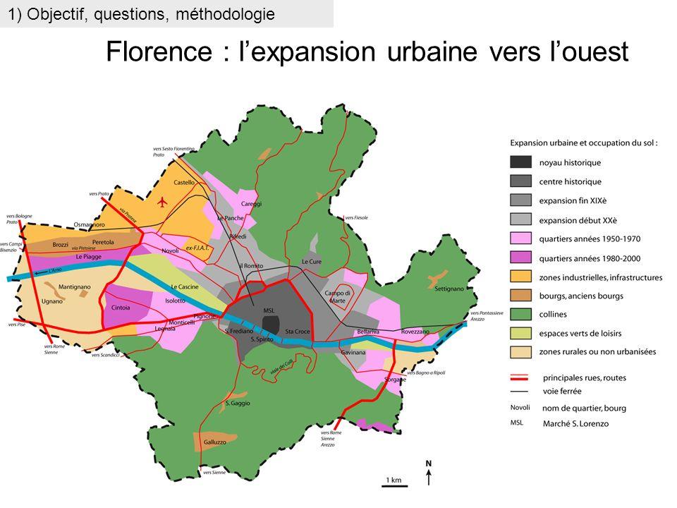 1) Objectif, questions, méthodologie Florence : lexpansion urbaine vers louest