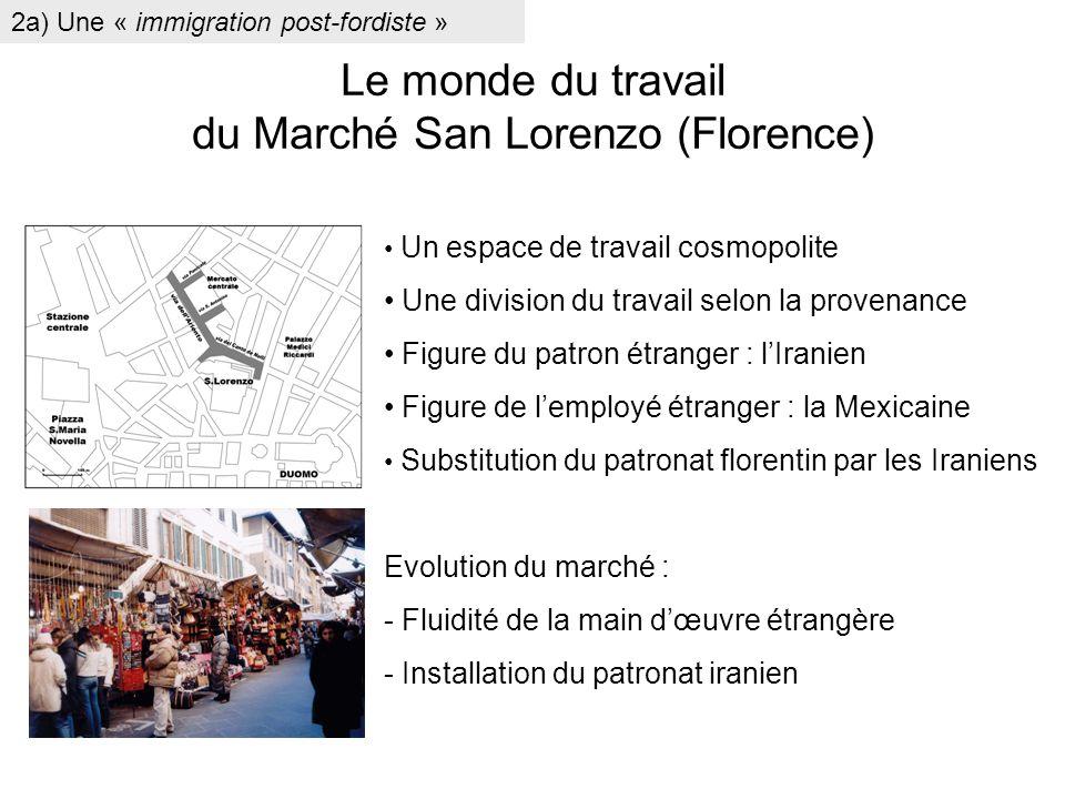 Le monde du travail du Marché San Lorenzo (Florence) Un espace de travail cosmopolite Une division du travail selon la provenance Figure du patron étr