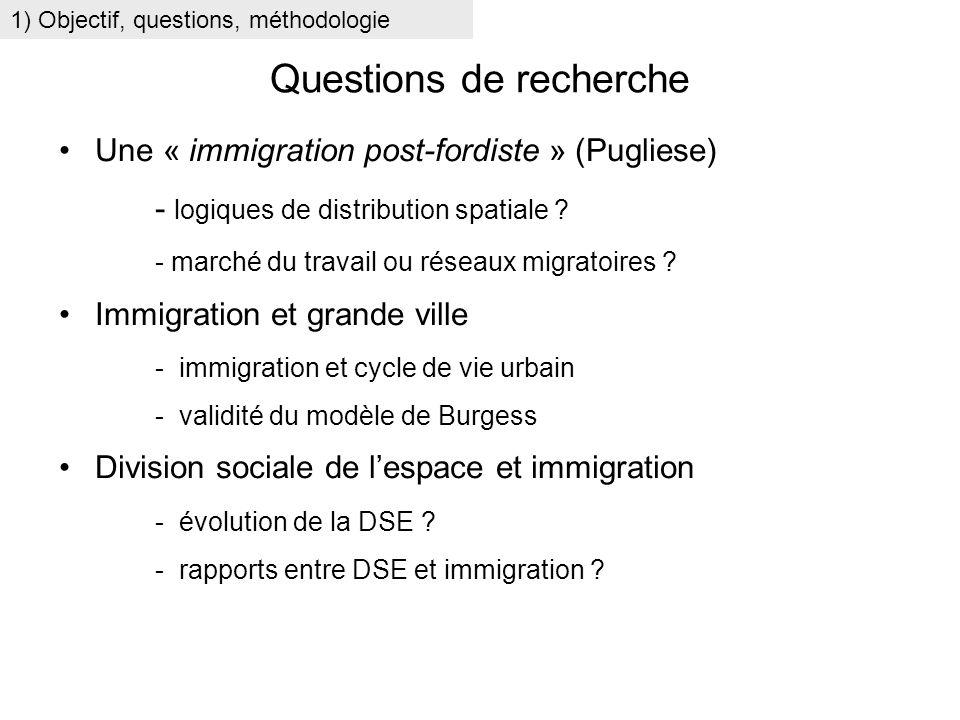 Questions de recherche Une « immigration post-fordiste » (Pugliese) - logiques de distribution spatiale ? - marché du travail ou réseaux migratoires ?