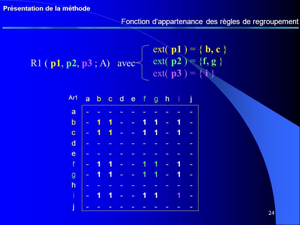 23 Présentation de la méthode Evaluation des règles de codification 1 Mesure de lutilité 2 Mesure de la redondance 3 Union et cohérence Fc1 L/DFEFI a-N1- b--- c- - d- - e--- Fc2 L/DFEFI a--- b-N2- c- - d--- e--- Fce L/DFEFI a-N1- b-N2- c- - d-N1- e--- = 4 Syntaxe des règles de regroupement