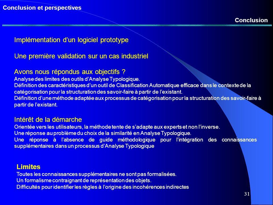 30 Présentation de la méthode Intégration de linformation issue des règles dans le processus de classification automatique abcd a604525 b60 3778 c453756 d257856 Tse abcd a100- b01-1 c0- 1- d-1-- Ae abcd a 100 00 25 b0 10037100 c0 3710056 d 2510056100 Tsec = ise Ae isec s 0=Smin s 1=Smax s -=s