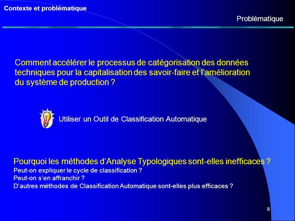 8 Contexte et problématique Problématique Comment accélérer le processus de catégorisation des données techniques pour la capitalisation des savoir-faire et lamélioration du système de production .