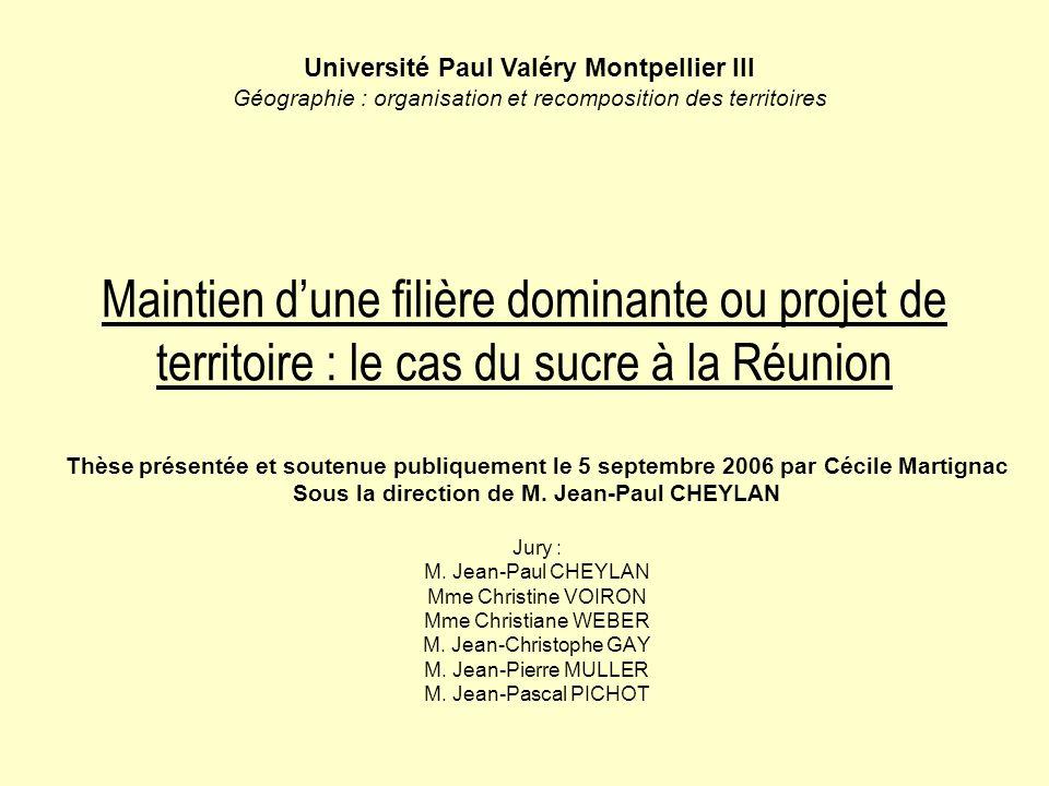 Maintien dune filière dominante ou projet de territoire : le cas du sucre à la Réunion Thèse présentée et soutenue publiquement le 5 septembre 2006 par Cécile Martignac Sous la direction de M.
