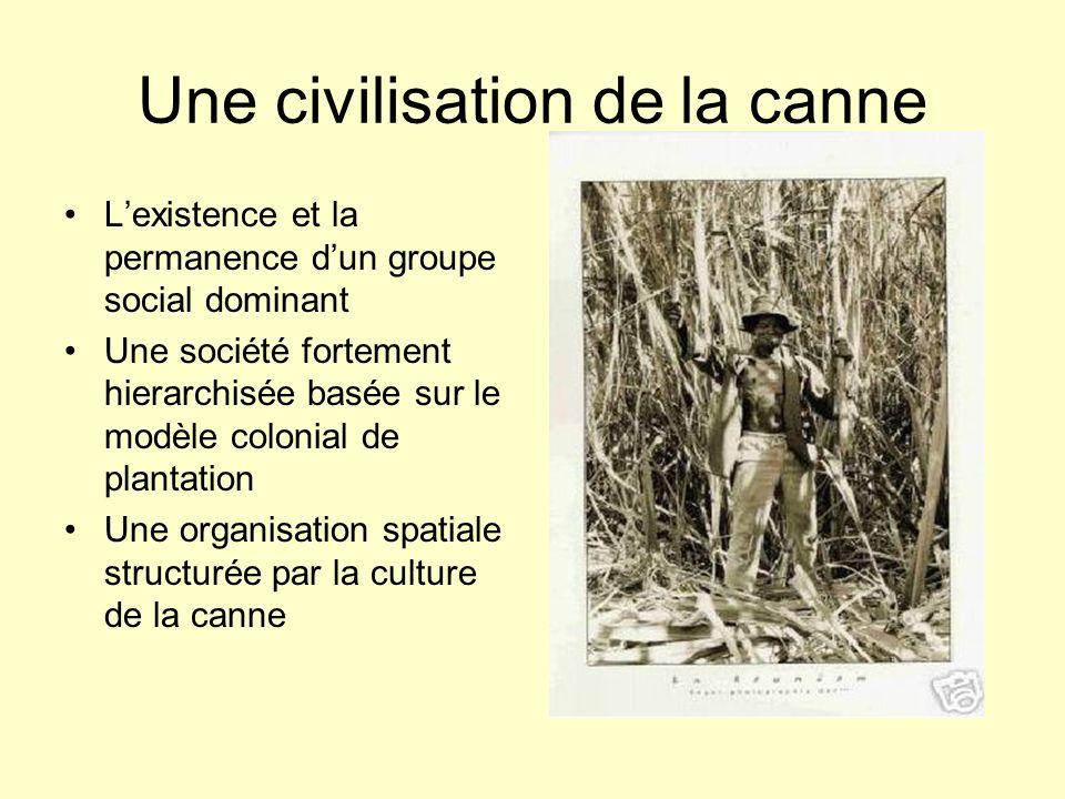 Une civilisation de la canne Lexistence et la permanence dun groupe social dominant Une société fortement hierarchisée basée sur le modèle colonial de plantation Une organisation spatiale structurée par la culture de la canne