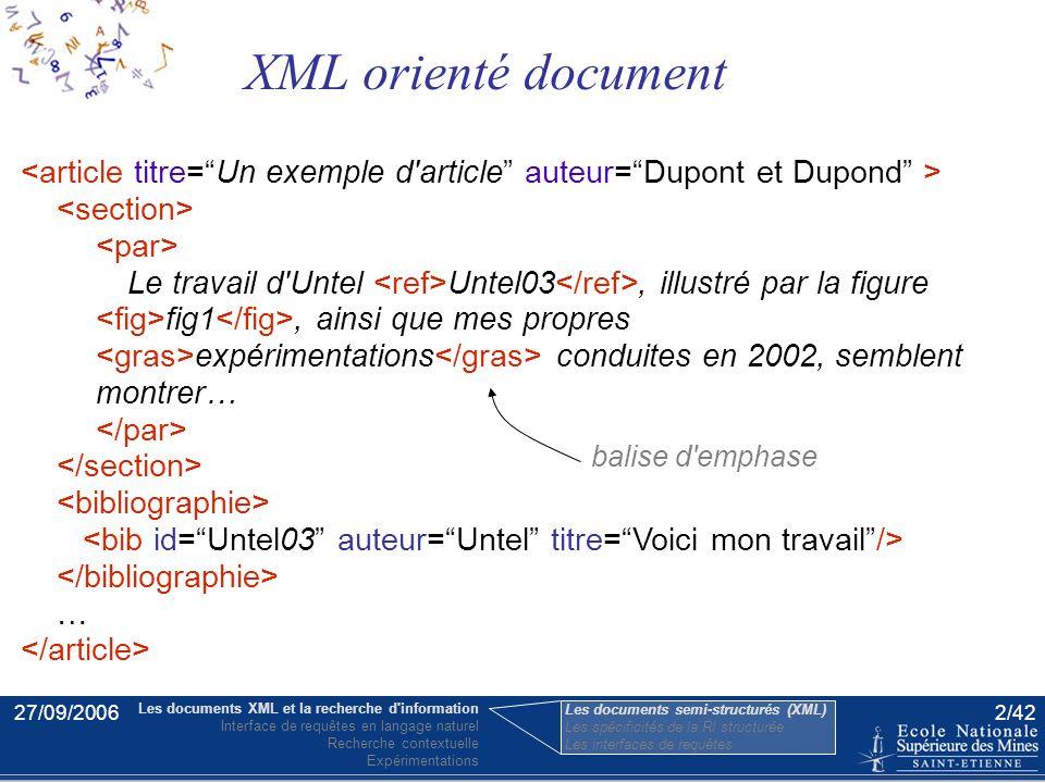 27/09/20061/42 –Analyse syntaxique –Règles sémantiques –Construction de la requête Interface de requêtes en langage naturel Plan Les documents XML et