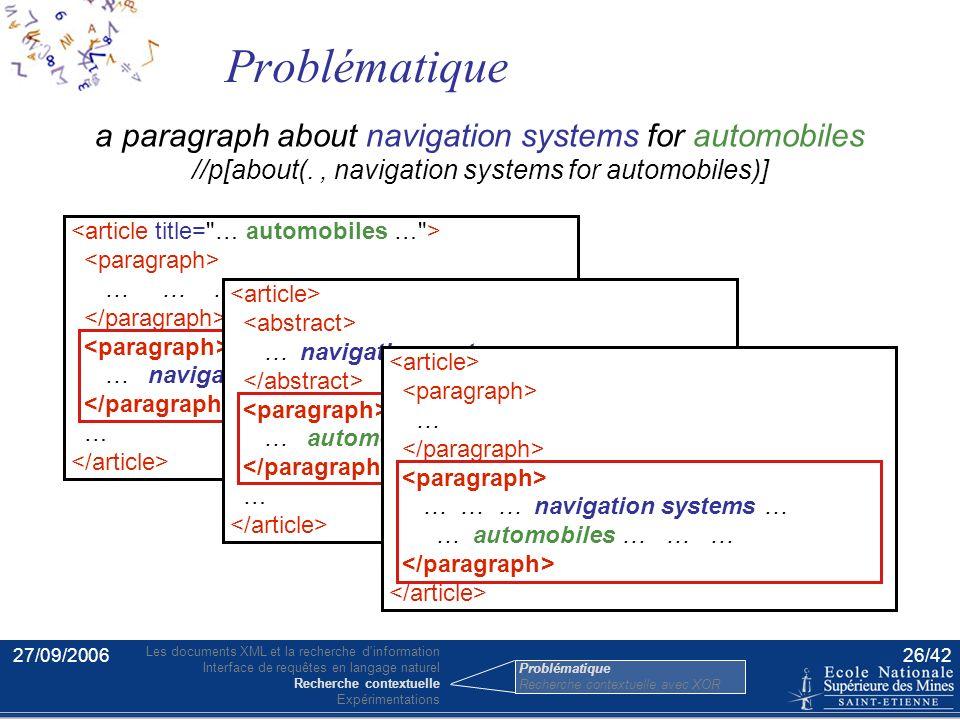 27/09/200625/42 Source majeure d'erreurs pour les moteurs de recherche : ex. : Navigation systems for automobiles (Top. 128, INEX 2004) Beaucoup d'élé