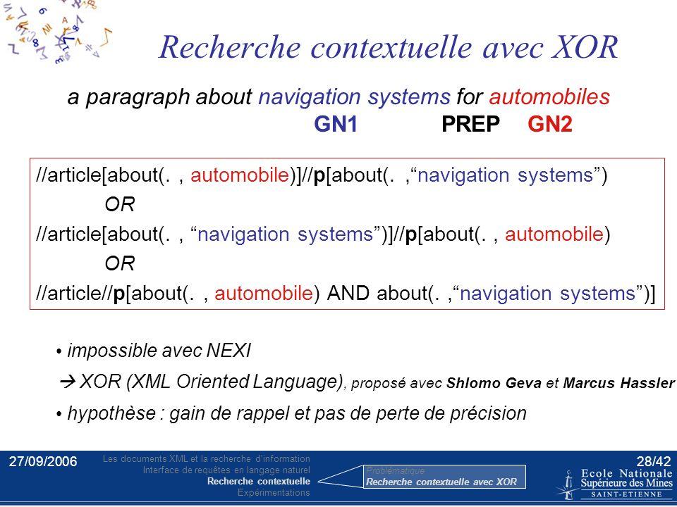 27/09/200627/42 Pondération d'un élément avec le score du document La rétro-propagation [Sigurbjörnsson et al] … navigation systems … … automobiles …