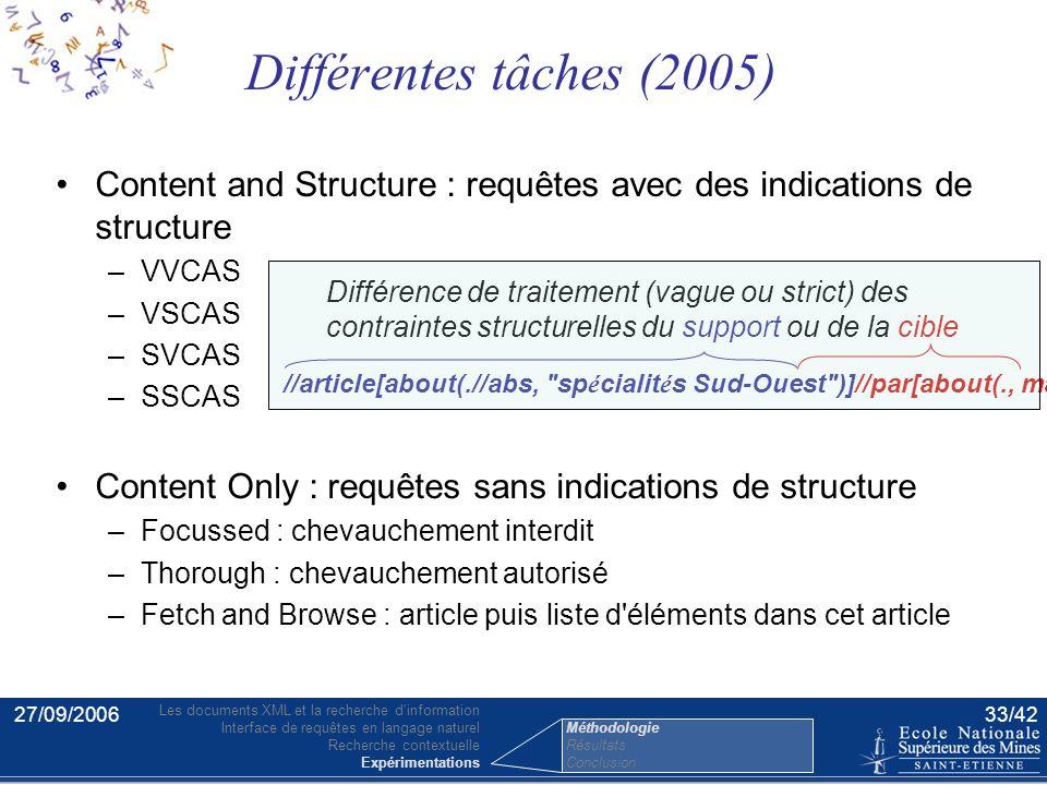 27/09/200632/42 Métriques d'INEX [Kazai et Lalmas 04] –mesures spécifiques à la recherche XML –gain cumulé normalisé étendu (nxCG[n]) rappel –effort-p