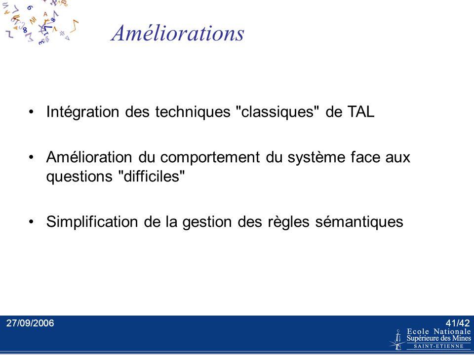 27/09/200640/42 Conclusion générale Confrontation des techniques de TAL et de la problématique des documents semi-structurés : –Analyse textuelle des
