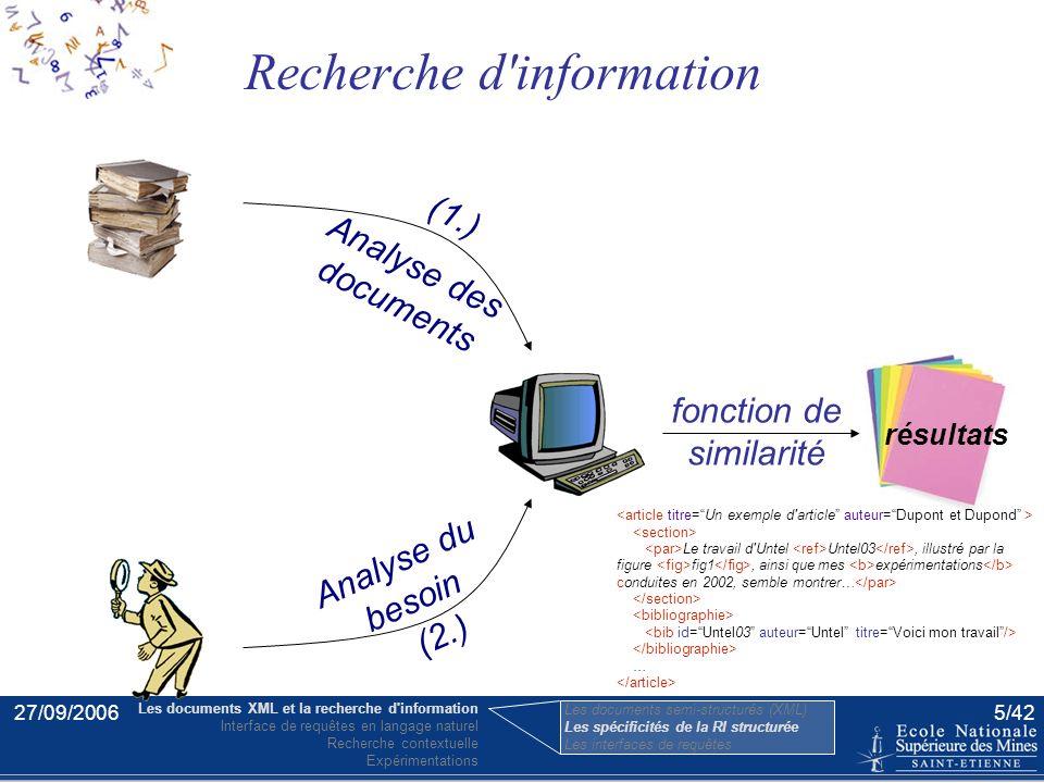 27/09/20064/42 06 79 30 94 29 05 62 39 92 04 19 quai Saint-Pierre 31000 Toulouse … (par opposition aux documents orientés documents) XML orienté donné