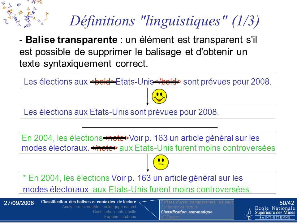 27/09/200649/42 Détermination automatique des classes L'idée est de prendre le problème