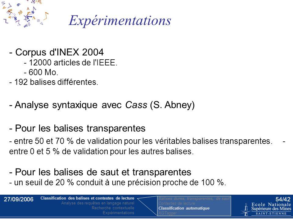 27/09/200653/42 une classe correspond à un nom de balise, et non à une balise isolée. traitement statistique nécessité d'un large corpus - Souvent les