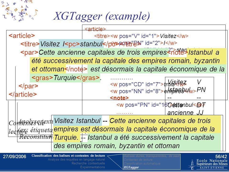 27/09/200655/42 - XGTagger est un logiciel libre et gratuit. - XGTagger utilise la classification et exécute sur des contenus XML tous types d'outils