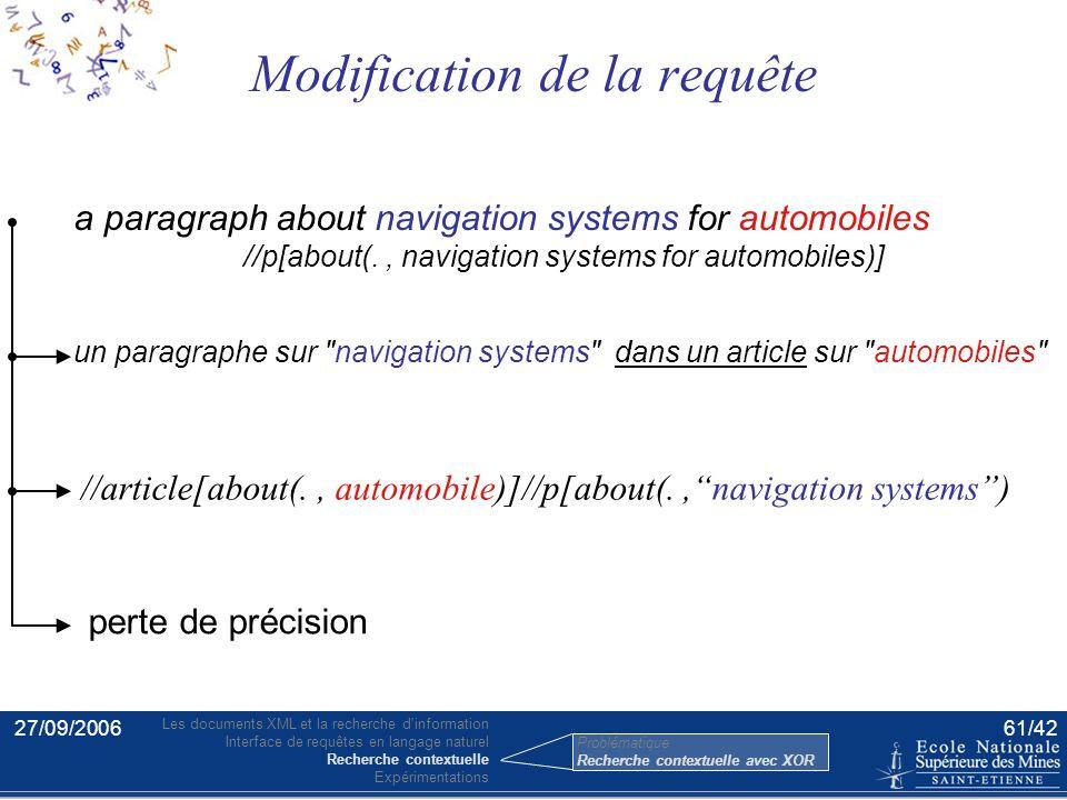 27/09/200660/42 Le langage XOR Problématique Le langage XOR Recherche contextuelle avec XOR (proposé avec Shlomo Geva et Marcus Hassler) Les limites d