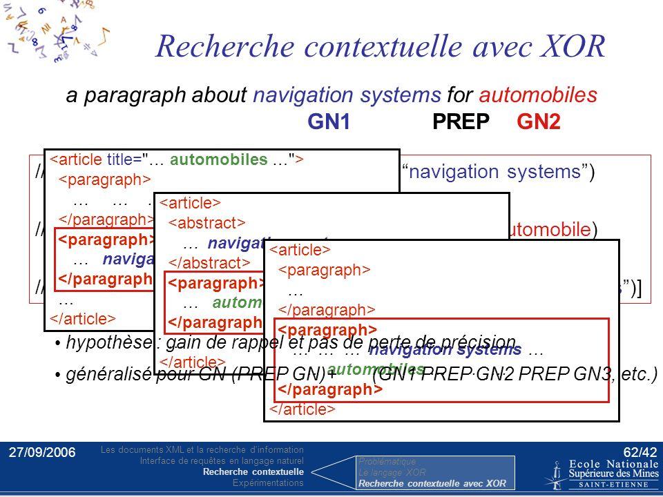27/09/200661/42 a paragraph about navigation systems for automobiles //p[about(., navigation systems for automobiles)] Modification de la requête un p